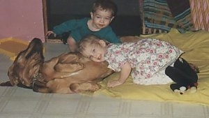 Bloodhound laying on its side on a blanket and a little girl has her ear to its stomach with a little boy just watching in the background