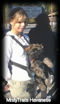 A girl is standing outside and she has a brown with black dog in a harness attached to her chest.