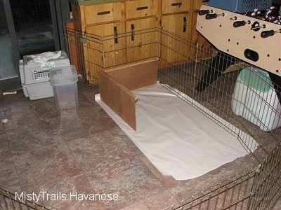 A whelping box surrounded by a Wire Enclosure.