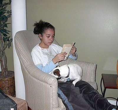 Jade reading a book while Jedi the Jack Russell curls up to take a nap on her lap