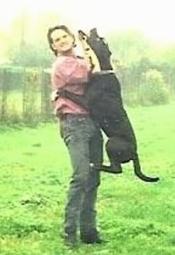 Action shot of a dog in mid air with its front paws wrapped around the waste of a man in a pink shirt and blue jeans and its back legs touching the person's knees. The dog is biting something in the person's hand