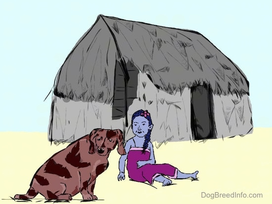 A drawn picture of a Hawaiian Poi dog sitting next to a girl and a house