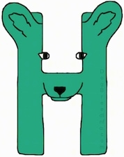 A green drawn letter H that also looks like a dog