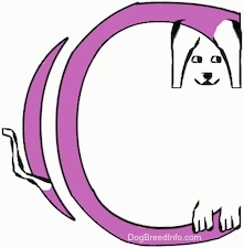 A drawn picture of a dog that is also the letter C