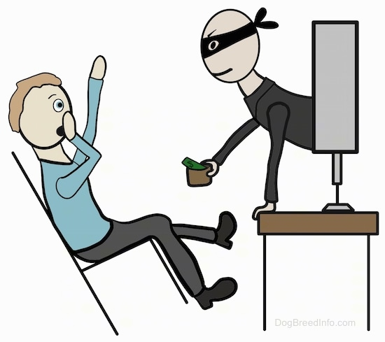A drawn image of a burgular wearing a black mask popping out of a computer screen with a cup with money in his hand asking for more. There is a person in front of the burgular in a chair falling back covering his mouth with his hand in surprise.