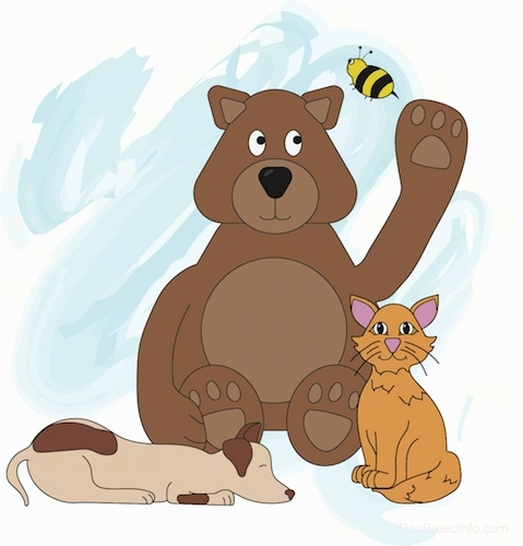 A drawn image of a brown bear a dog, cat and a bee flying over the bear's head. The bear has its paw in the air as if to swat at the bee. The dog is laying down sleeping and the cat and the bear are sitting down.