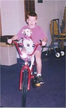 Sally the poodle mix is sitting on a bicycle with Tyler. They are in a house and the dog is sitting on the seat in front of the boy with its front paws on the middle part of the handle bars.