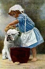 A colored drawing of a Bulldog getting a bath from a little girl.