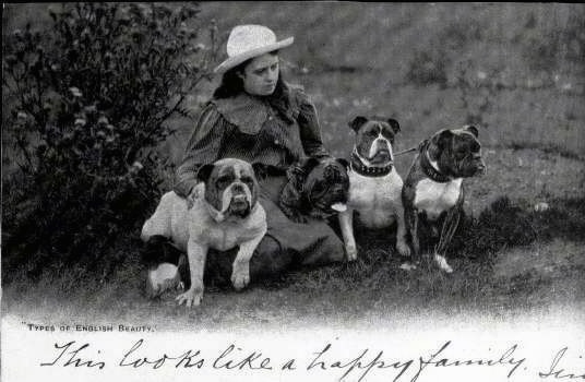 A black and white photo of Four bulldogs that are sitting in front of a lady, out in a field.