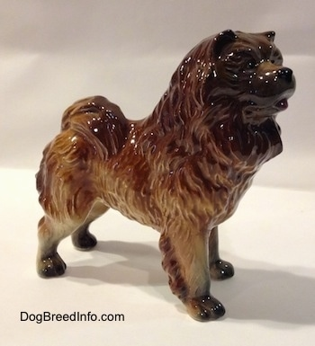 The front right side of a porcelain brown with black Chow Chow figurine. The paws of the figurine are black paws.
